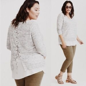 • TORRID • gray & white lace up back sweater